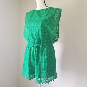 New York and Company green lace Romper Size S